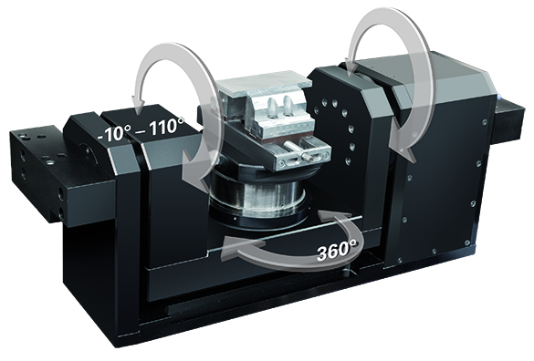 Rotary swivel table CNC workholding or trunnion 5-axis rotary axis used in conjunction with DATRON high speed machining centers.