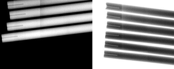 "Micro drilling stainless is shown in these impressive Xrays of a 0.004"" hole drilled 0.040"" deep in stainless steel rods."