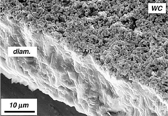 Dental milling tools with diamond coating applied by CVD (Chemical Vapor Deposition) shown in this electron microscopic