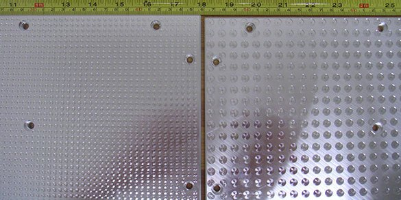 Vacuum table tops in both regular and dense hole pattern to hold very small parts even after they are milled free from the sheet material.