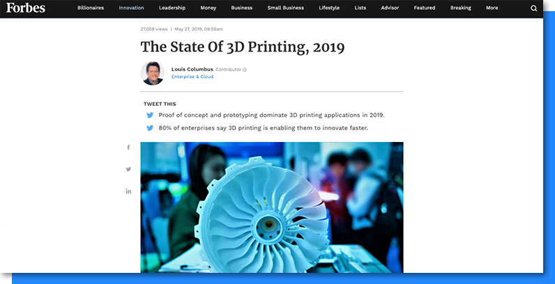 Setting up a prototyping lab: The State of 3D Printing, 2019