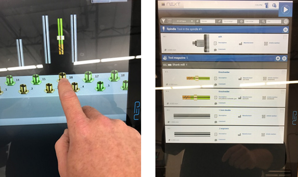 As part of CNC workflow on DATRON neo, tell the machine which tool and space was selected.