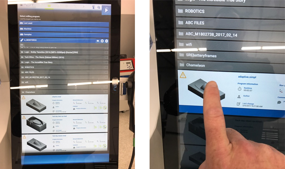 Just pick a program from the DATRON neo touchscreen menu as the next step in the CNC workflow