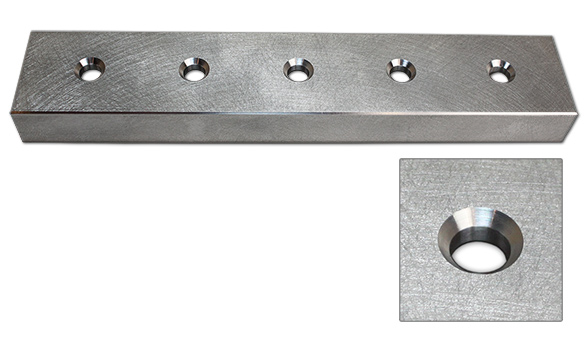 Combination cutting tool for milling holes and a countersink in one action to eliminate the need for a tool change which saves time and money.