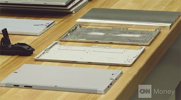 Microsoft R&D lab in Redmond, WA using DATRON high speed CNC milling machines for the rapid prototyping of consumer electronics parts including these aluminum housings for Surface3.