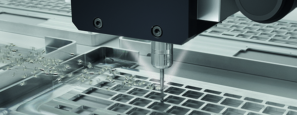 DATRON milling machine coolant system with minimal volume application.