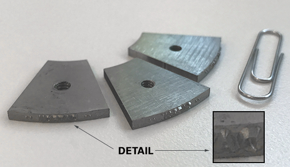 Marking dies with intricate detail machined with a DATRON high-speed milling machine.
