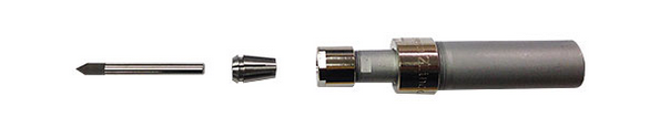 Spring-loaded engraving tool used for engraving on uneven surfaces.