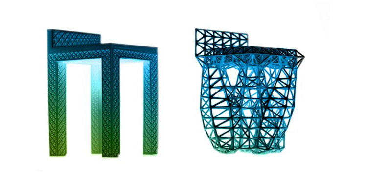 Generative design resulted in many char designs. Here are two very different ones.