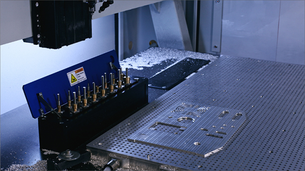 Milling panels from aluminum sheet material is ideally suited to DATRON machines due to their large work area and vacuum table workholding.