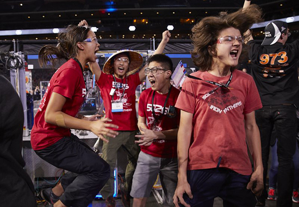 Iron Panthers react to their robotics team win to become world champions.